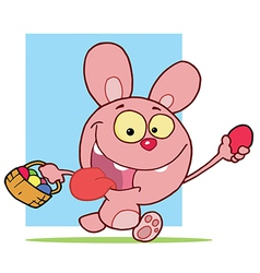 Pink Bunny Holding Up An Easter Egg And Carrying A vector image vector image