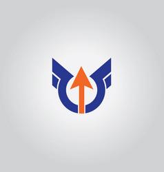 round wing arrow logo vector image