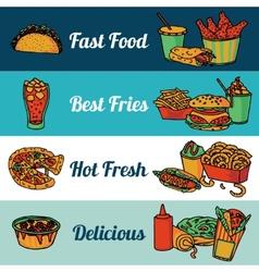 Fast food restaurant menu banners set vector image vector image