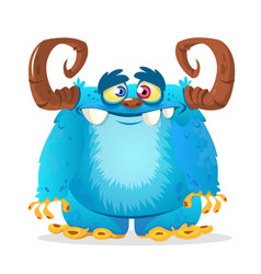 happy cartoon blue monster vector image