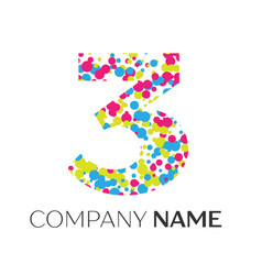 Number three logo with blue yellow red particles vector