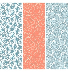 Set of coral and sea star seamless vector image