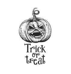 trick or treat halloween pumpkin sketch vector image vector image