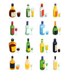colored isometric alcohol icon set vector image vector image
