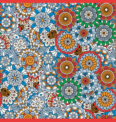doodle colored decorative floral pattern vector image vector image