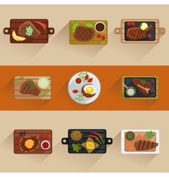 Fish and meat steaks cooking icon flat isolated vector image vector image