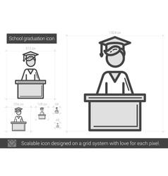 School graduation line icon vector
