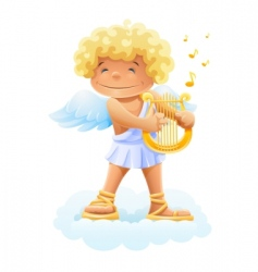 smile cupid playing lyre vector image vector image