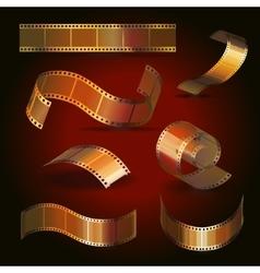 Camera film roll gold color set vector image vector image