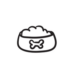 dog bowl with food sketch icon vector image vector image