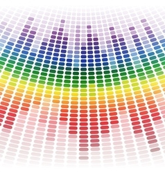 Rainbow warped digital equalizer on white vector image