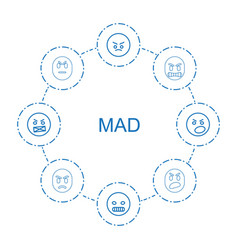 8 mad icons vector