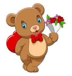 A cute bear with a red heart and flower on hand vector