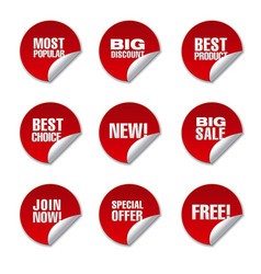 Advertising promotion discount stickers vector