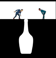 alcoholics look into bottle vector image