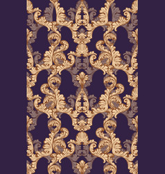 Baroque gold velvet pattern tile background rich vector