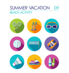 beach activity flat icon set summer vacation vector image