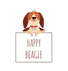 beagle dog holding a sign with inscription flat vector image