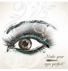 Beautiful hand drawn female eye for design vector