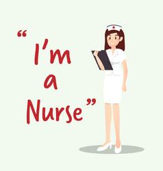 Beautiful nurse character with clipboard cartoon vector