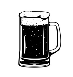 Beer glass mug black and white vector
