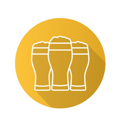 Beer glasses flat linear long shadow icon vector