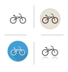 Bicycle flat design linear and color icons set vector image