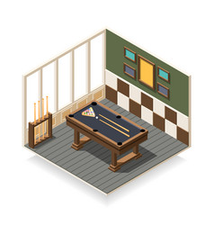 Billiard room isometric composition vector