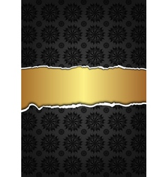 Black abstract texture and golden label vector image