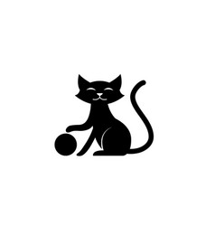 black cat smile and play with ball for logo vector image