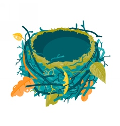Blue autumn empty nest vector
