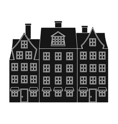 building single icon in black stylebuilding vector image vector image