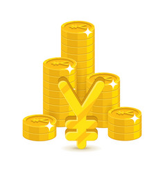 bunch gold chinese yuan or japanese yen isolated vector image