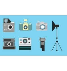 Camera vintage flat icon set film roll photography vector
