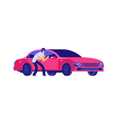 car theft thief is getting close to car car vector image