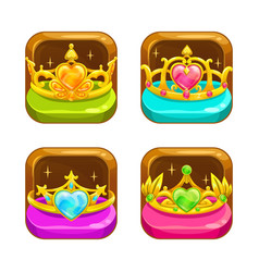 cartoon app icons with golden crowns vector image