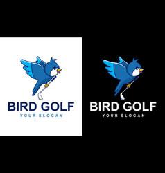 Cartoon bird playing golf for a sports mascot vector