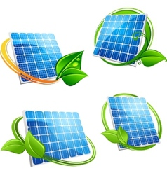 Cartoon solar panel with leafy frames vector