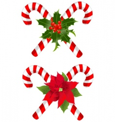 Christmas candy cane decorated designs vector image