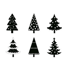 Christmas trees set christmas trees silhouettes vector
