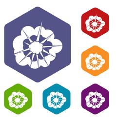 Cloudy explosion icons set hexagon vector