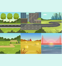 collection sceneries urban and natural vector image