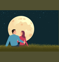couple sitting on grass during full moon vector image
