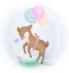 Cute little deer with balloons playing in gard vector