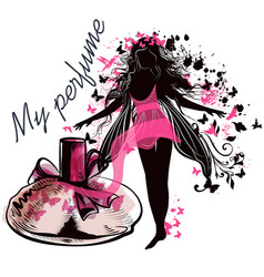 elegant with perfume bottle and girl vector image