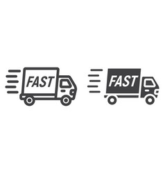 fast shipping line and glyph icon logistic vector image