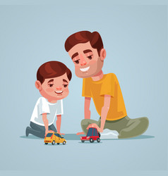 Father and son character play toy vector