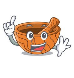 Finger wooden kitchen mortar isolated on mascot vector
