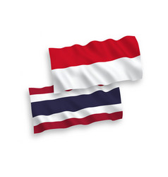 Flags indonesia and thailand on a white vector