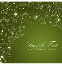 Floral twirl postcard green vector